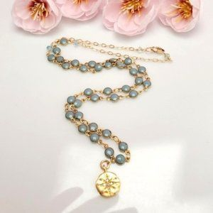 14k gold filled star charm turquoise necklace